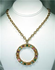 Huge Multi-Colored Rhinestone Circle Medallion Necklace