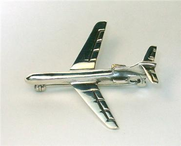 Sterling Silver Jet Airliner Pin - New
