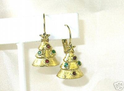 Goldtone Red & Green Rhine Christmas Tree Earrings