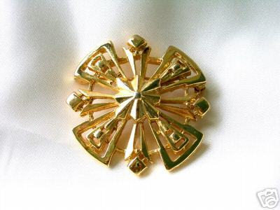 Primary image for Vintage Stylized Goldtone Metal Snowflake Brooch