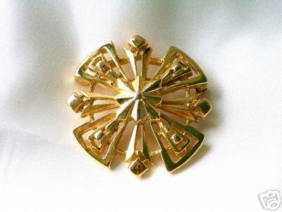 Vintage Stylized Goldtone Metal Snowflake Brooch