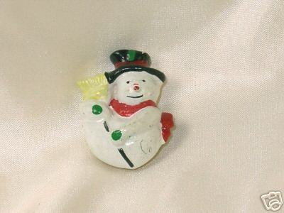Cute Vintage Christmas Snowman Button Cover