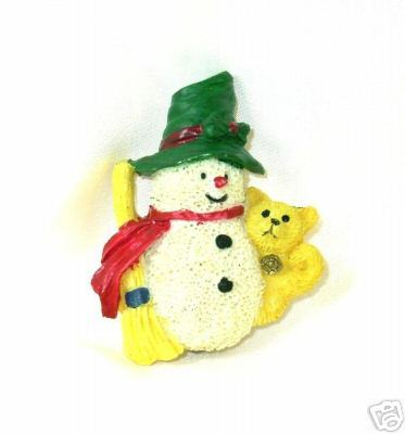 Cute Polymer Vintage Snowman and Teddy Bear Pin
