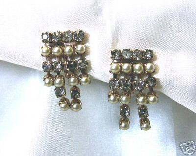 Vintage Rhinestone & Faux Pearl Dangle Earrings