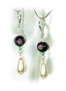 Rose & Raindrop Lampwork Crystal Pierced Drop Earrings