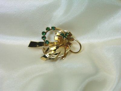 Vintage Retro Green Rhinestones Leaf Pin