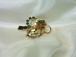 Vintage Retro Green Rhinestones Leaf Pin - $9.00