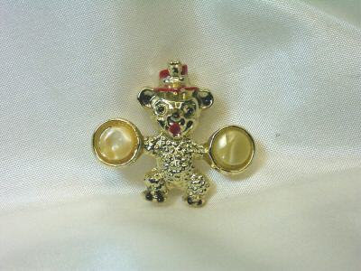 Vintage Circus Bear with Cymbals Pin