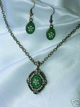 Green Enamel and Faux Pearl Demi Parure Necklace & Ears - $8.00
