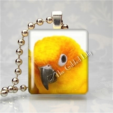 SUN CONURE EXOTIC BIRD Scrabble Tile Art Pendant Charm