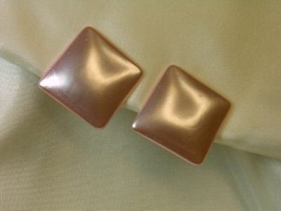 Vintage Simulated Pink Pearl Square Clipback Earrings