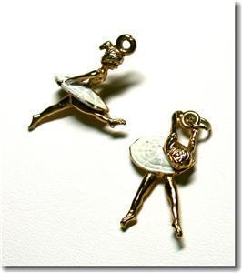 Vintage Enameled Goldtone Ballerina Charms Pendants (2)