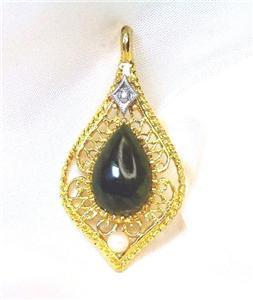 Beautiful Teardrop Filagree Jadeite Pearl & RS Pendant