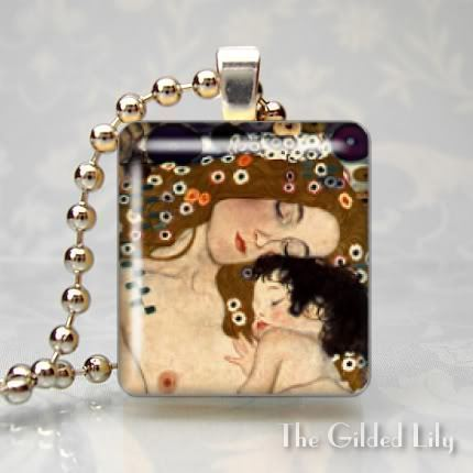 KLIMT MOTHER AND CHILD Scrabble Tile Art Pendant Charm