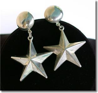 Vintage Silvertone Big Star Dangle Pierced Earrings