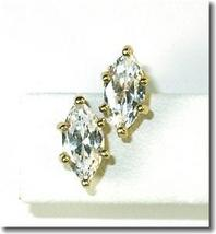 New Large Navette Rhinestone Post Earrings - $9.00