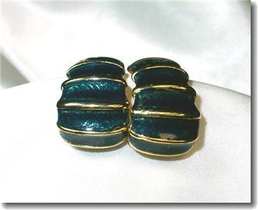 Deep Green Guilloche Enameled Pierced Earrings