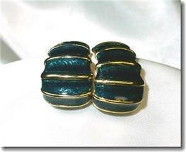 Deep Green Guilloche Enameled Pierced Earrings - $5.00