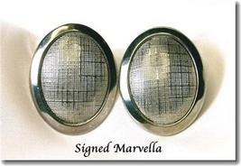 Marvella Oval Clipback Earrings Linen Weave Pattern - $10.00