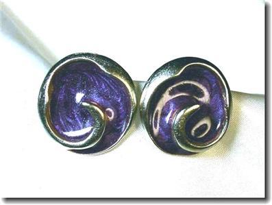 Frosted Violet Enamel Silvertone Pierced Earrings