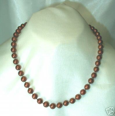 Vintage Root Beer-Colored Faux Pearl Necklace