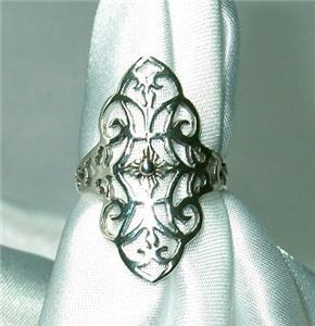 Gorgeous Sterling Silver Filagree Ring Size 6