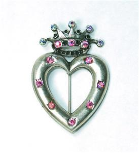 Charming Crowned Heart Pin w/Aurora Borealis Rhines