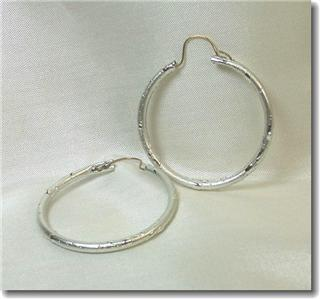 Textured Silvertone Hoop Earrings