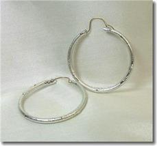 Textured Silvertone Hoop Earrings - $8.00