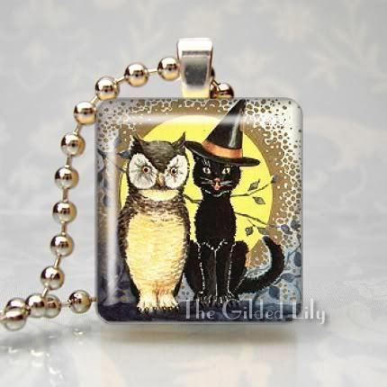 BLACK CAT & OWL VINTAGE HALLOWEEN Scrabble Art Pendant
