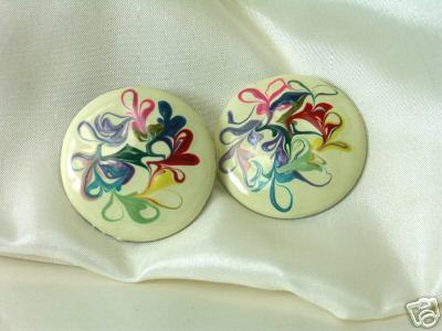Vintage Marbleized Multicolored Enamel Earrings