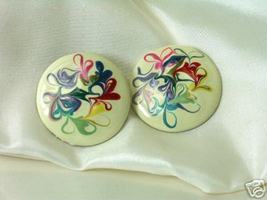 Vintage Marbleized Multicolored Enamel Earrings - $7.00