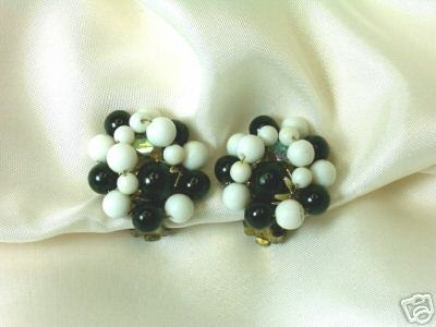 Primary image for Vintage Japan Black & White Bead Cluster Clip Earrings