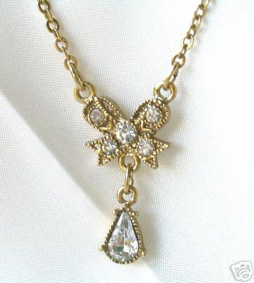 1928 Jewelry Co. Bow & Teardrop Rhinestones Pendant