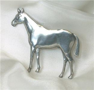 Wonderful Sterling Pewter Standing Horse Pin
