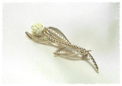Graceful Filagree & Faux Ivory Rose Pin