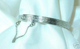 Wood Grain-Stamped Silvertone Bangle Bracelet - $3.00