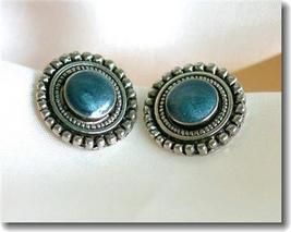 Silvertone & Blue Frosted Enamel Stud Pierced Earrings - $7.00