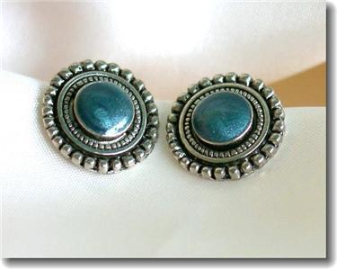 Silvertone & Blue Frosted Enamel Stud Pierced Earrings