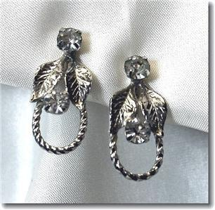 Vintage Rhinestone Leaf & Rope Screwback Earrings