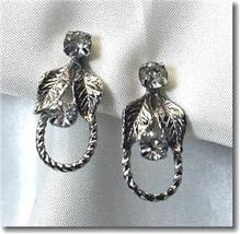 Vintage Rhinestone Leaf & Rope Screwback Earrings - $9.00