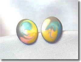 Vintage Oval Pastels Enamel Stud Earrings - $9.00