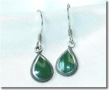 Primary image for Sterling & Malachite Teardrop Dangle Earrings