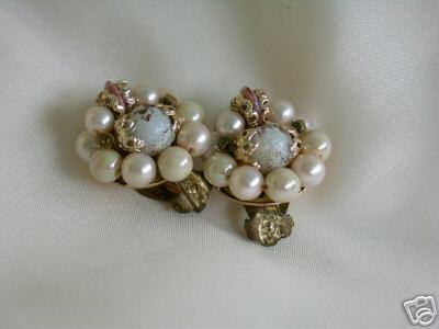 Vintage Iridescent Pink Japanese Bead Cluster Earrings