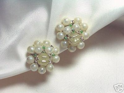 Primary image for Vintage Faux Pearl Japanese Bead Cluster Earrings