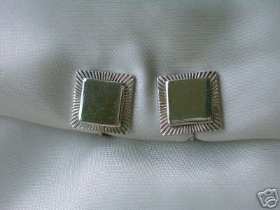 Vintage Signed Coro Silvertone Square Clip Earrings