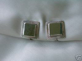 Vintage Signed Coro Silvertone Square Clip Earrings - $5.00
