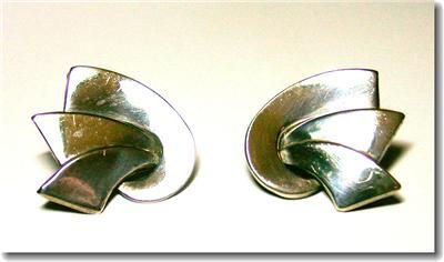 Sterling Silver Deco Style Pierced Abstract Earrings