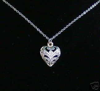 Primary image for Vintage Filagree Heart Silvertone Pendant