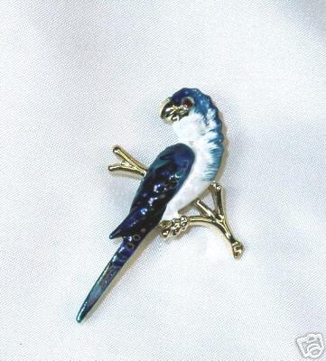 Beautiful Blue Enamel Parrot Pin w/ Red Rhinestone Eye